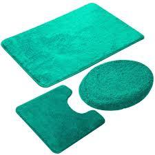3 teiliges badezimmer teppich set rutschfeste microfaser zottel weich badematte kontur badematte toilettensitzbezug 50 x 80 cm see grün