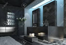 moderne elegante architektur grau badezimmer design mit weißen kerzen in der nähe der badewanne und frische blumen in der nähe der wand