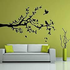 denoda ast mit drei vögeln wandtattoo schwarz 117 x 75 cm wandsticker wanddekoration wohndeko wohnzimmer kinderzimmer schlafzimmer wand aufkleber