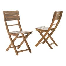 Noble House Hudson Natural Finish Foldable Wood Outdoor Dining Chair  (2-Pack)