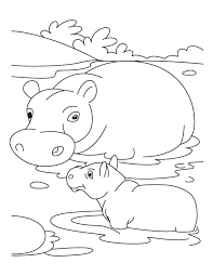 Baby Hippo With Mother Coloring Pages