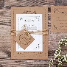 Rustic Kraft Wedding Invitation With Leaf Border