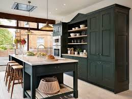 light green kitchen traditional with leather bar stools