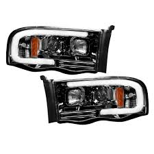 100 Dodge Truck Accessories Smoked Black LED Halo Headlights Ram 0205 RECON