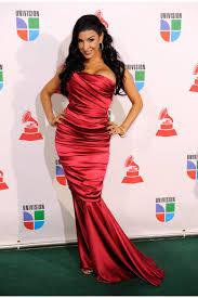 veronica strapless red mermaid dress at 2009 latin grammy awards