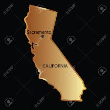 Gold California State Map With Capital Name Stock Vector