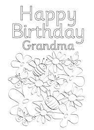 Printable Coloring Birthday Cards For Grandma