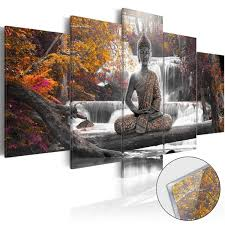 3 Colors 5PCS Buddha Zen Landscape Painting Canvas Print Modern Picture Wall Art Decor Home With Frame