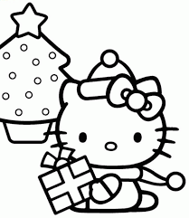 Hello Kitty With A Christmas Tree Coloring Page