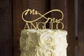 Wedding Cake Topper For Personalized Mr And Mrs Gold Rustic