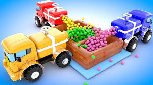 Colors For Kids To Learn With Monster Dump Trucks Dumping Color ...