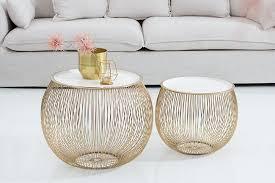 eleganter couchtisch beistelltisch storage 51cm gold weiß