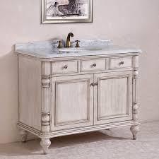 46 Inch White Bathroom Vanity by Carrara White Marble Top Single Sink Bathroom Vanity In Antique