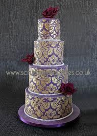 Purple Gold Damask Wedding Cake On Central