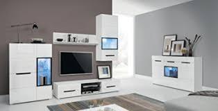 pedro wohnwand mit kommode wohnzimmer komplett weiß hochglanz beleuchtung