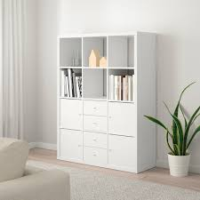 kallax shelving unit with 6 inserts white 112x147 cm