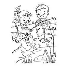 In Summer Vacation Kids Fishing Coloring Sheets