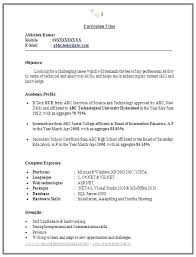 Profile Title For Fresher Resume Sample Format Finance Freshers Beautiful Examples
