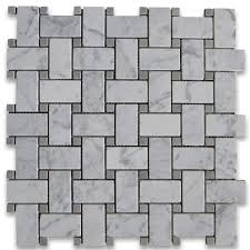 carrara white 1x2 basketweave mosaic tile w gray dots honed