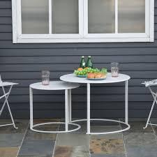 outsunny beistelltisch 2er set garten couchtisch kaffeetisch mit erhöhten kanten wohnzimmer metall weiß ø70 x 50 cm