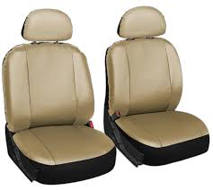 Oxgord Tactical Floor Mats by Faux Leather Car Seat Covers Solid Tan 6pc Bucket Set W Head Rests