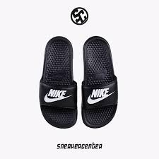 Nike Benassi GD Mens Shoes Black And White Letters Sport Beach Slippers 343880 090