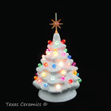 Miniature White Ceramic Christmas Tree Gum Drop Color Lights With Star