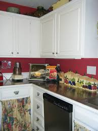 Wondrous White Kitchen Cabinet Set With Red Paint Colors Also Granite Countertops In Small Space Modern Decorating Ideas