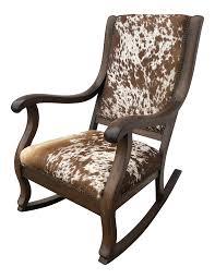 1930s Vintage Natural Cowhide Rocking Chair