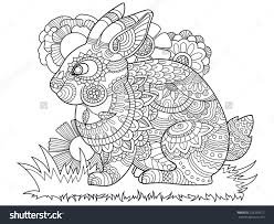 Rabbit Bunny Coloring Book For Adults Vector Illustration Anti Stress Adult