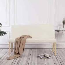 details zu vidaxl sitzbank mit rückenlehne 139 5cm creme kunstleder polsterbank esszimmer