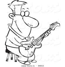 Vector Of A Happy Cartoon Man Playing Guitar On Stool