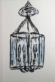Pen And Blue Colored Pencil Drawing Of A Chandelier