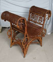 Antique Victorian Wicker Sette Or Photography Chair