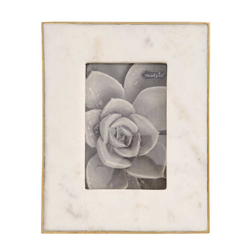 "Mud Pie White Marble Picture Frame Size: 7"" L x 5"" W"