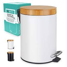 hibath 5 liter kosmetikeimer mit bambusdeckel mit softclose absenkautomatik weiss
