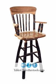 Amish Built Rustic Hickory Wood Restaurant Bar Stools