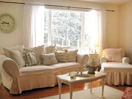 Awesome Shabby Decor For Living Room With Slipcover And Antique White Table Ruffled Pillows