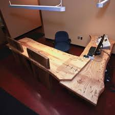 Office Design With Rustic Style Wooden Furniture