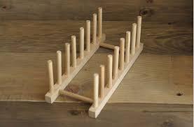 Wooden Plate Rack Holder Wood Stand Kitchen Storage Dish Display Shelf