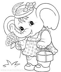 Elephant Coloring Pages For Girls