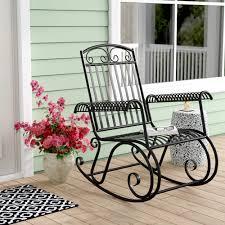 100 Rocking Chair Wheelchair Three Posts Snowberry Iron Outdoor Porch Reviews