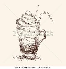Iced Coffee Sketch Style Vector Illustration
