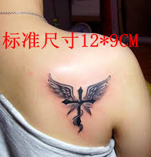 Angel Wings Tattoo Cross Back Girls Classic Figure False Temptations