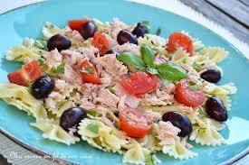 recette de salade de pâtes farfalle au thon olives tomates