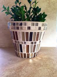 Rustic Mosaic Flower Pot Large Indoor Planter Brown Glass Herb Kitchen Handmade Terracotta Patio Pots