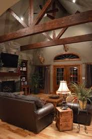 Rustic Wood Moulding Looks Beautiful Against The Gray Colored Walls