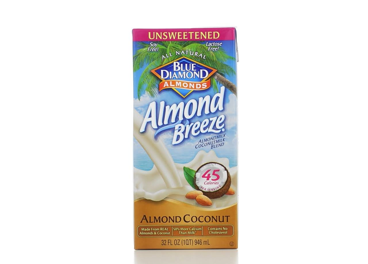 Blue Diamond Unsweetened Almond Breeze, Almond/Coconut Milk Blend - 32 fl oz carton