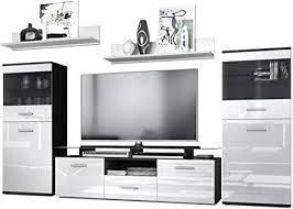 vladon wohnzimmer wohnwand anbauwand schrankwand almada korpus in schwarz matt front in weiß hochglanz