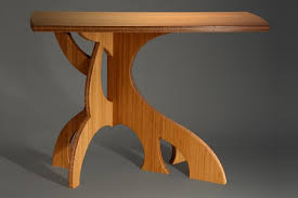 Curved Bamboo Hall Table With Sculptural Organic Legs By Seth Rolland Custom Furniture Design